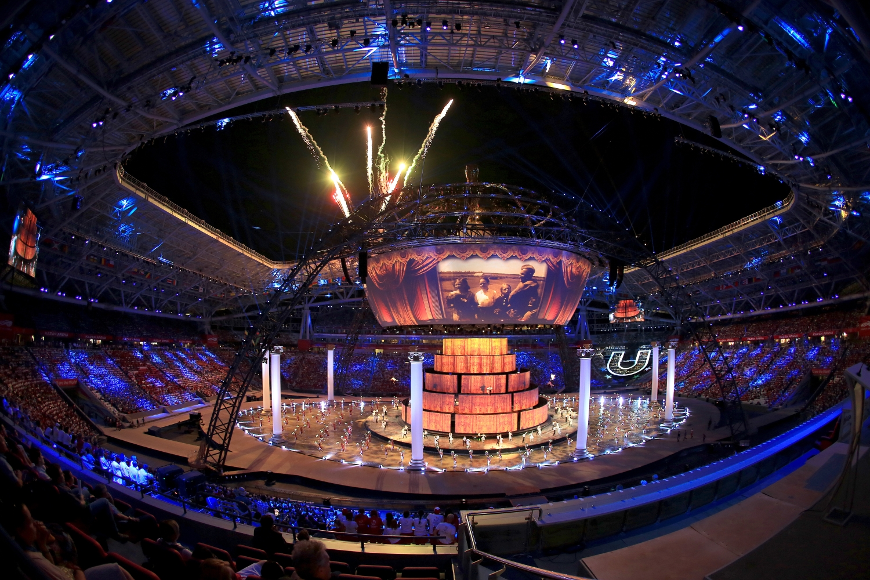 Stadion w Kazaniu to kolejna z aren zbliżającego się mundialu w Rosji. Na zdjęcu ceremonia otwarcia Uniwersjady 2013 (fot. Stanislavgubaydullin/ commons.wikimedia.org CC BY-SA 3.0)