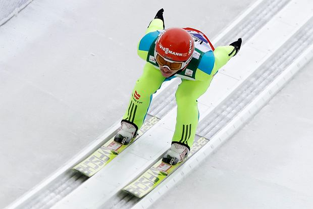 Richard Freitag of Germany speeds down the hill for his trial jump during the team competition at the Ski Flying World Championships in Oberstdorf, Germany, Sunday, Jan. 21, 2018. (AP Photo/Matthias Schrader)