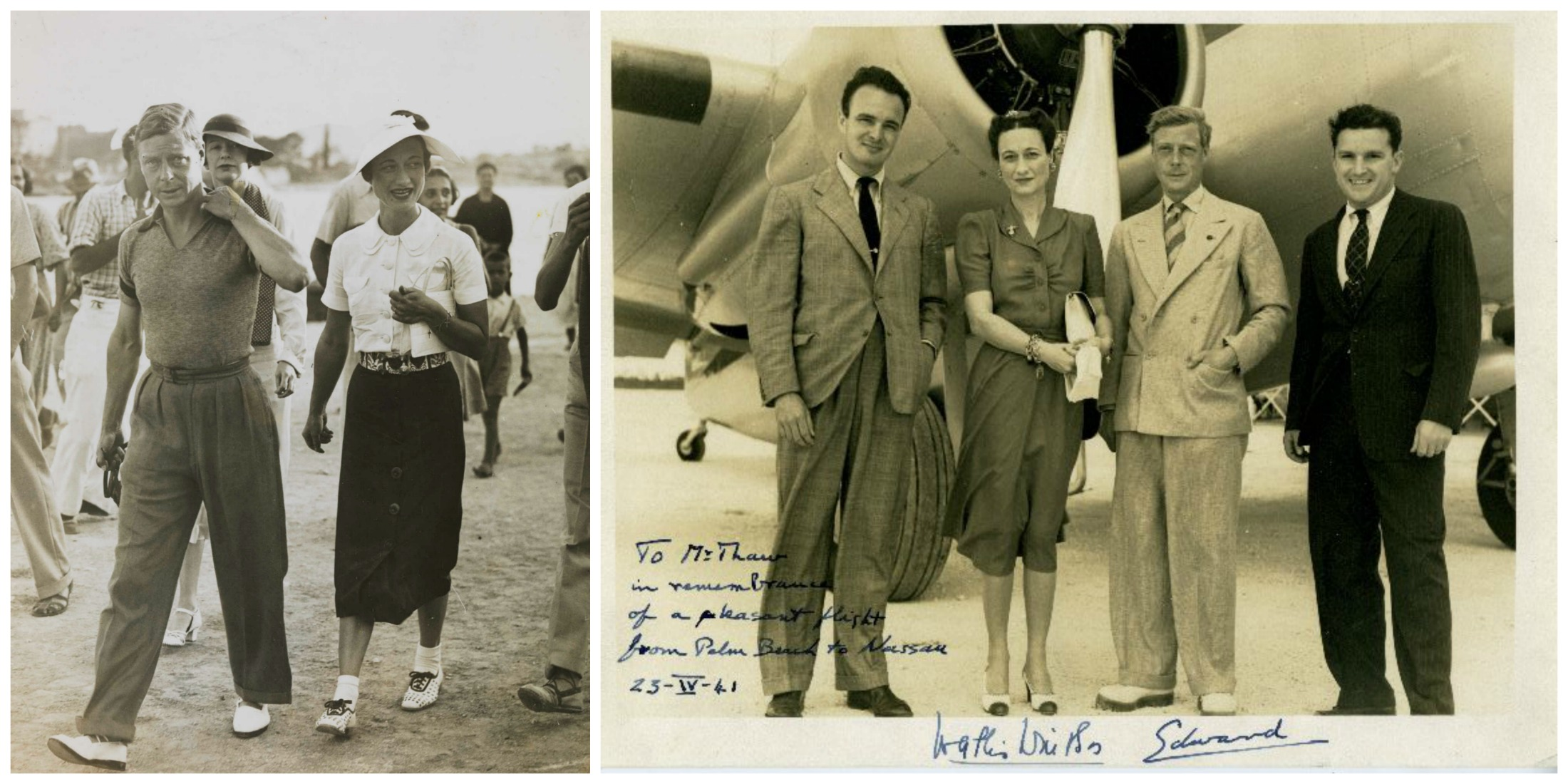 Po lewej Edward VIII i Wallis Simpson na wakacjach w Jugosławii w sierpniu 1936 r. Po prawej para w towarzystwie przyjaciół w 1941 r. (fot. National Media Museum @ Flickr Commons / SDASM Archives / Flickr.com)
