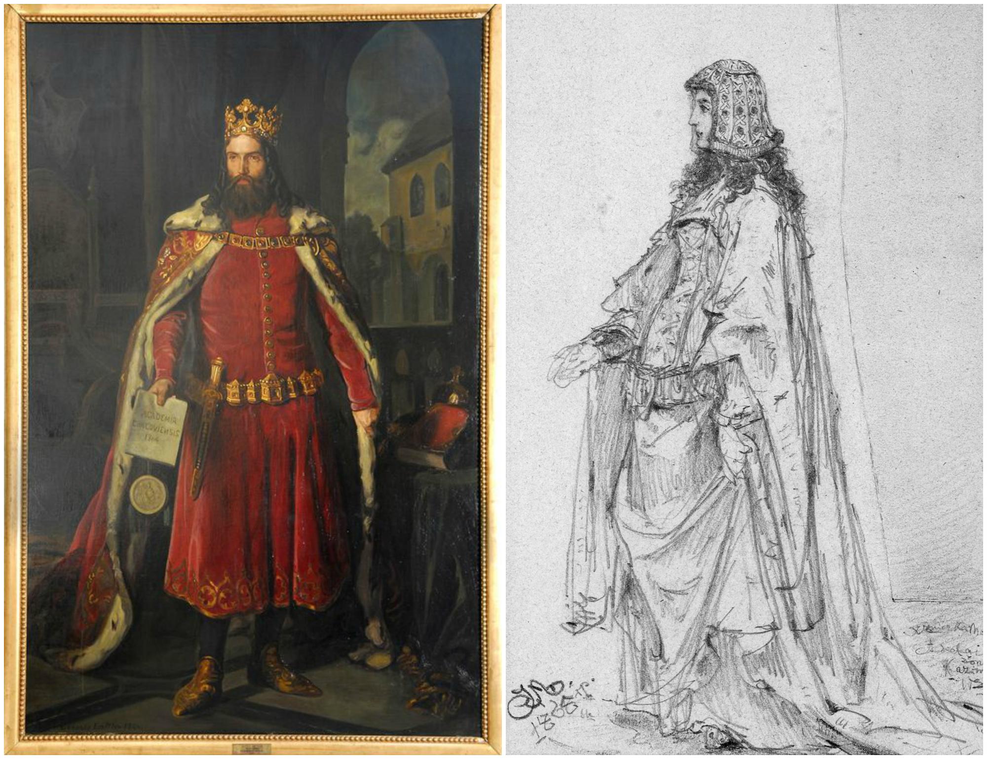 Z lewej Kazimierz Wielki na portrecie Leopolda Loefflera. Z prawej Adelajda Heska, druga żona króla, sportretowana przez Jana Matejko w 1865 r. (fot. Muzeum Narodowe w War