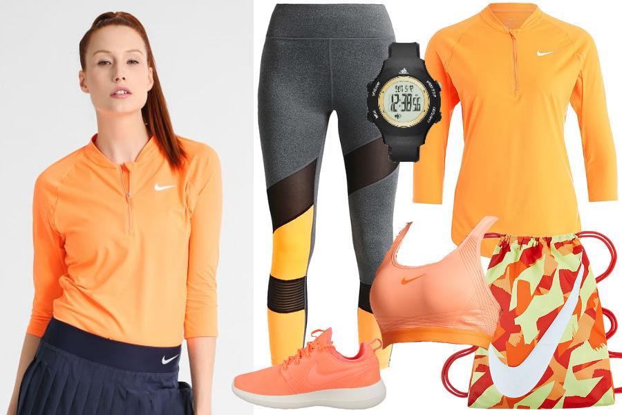 Pomarańczowa bluzka, łososiowy stanik sportowy, szare legginsy