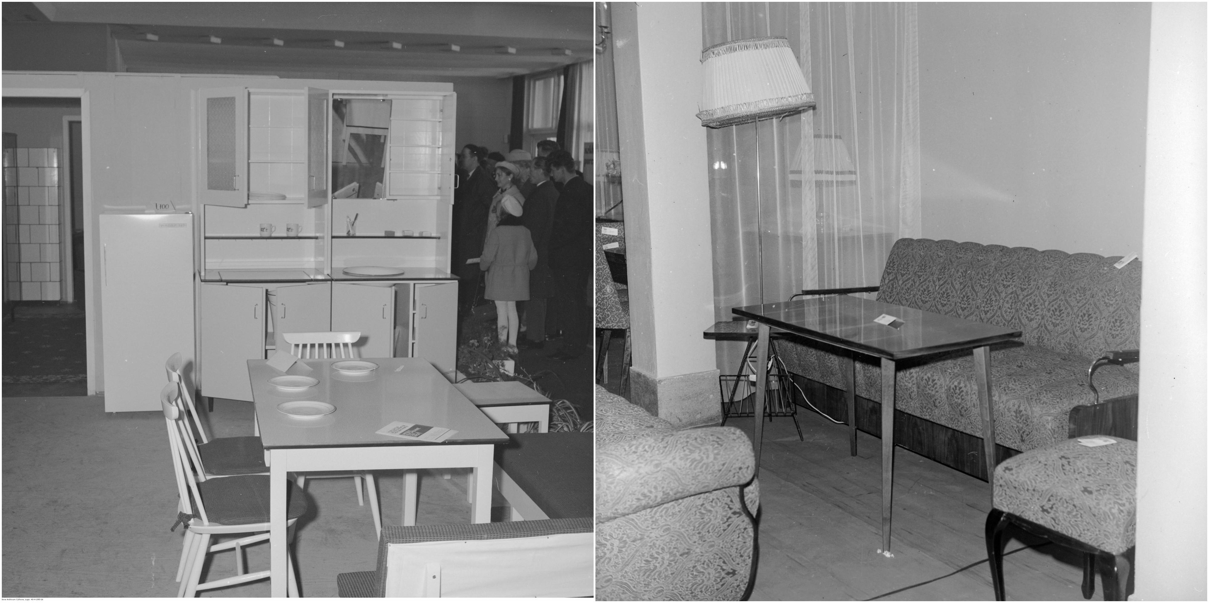 Z lewej wystawa 'Nowoczesność w każdym domu' w Powiatowym Domu Kultury w Nakle, 1968 r. Z prawej stoisko meblowe w Rzemieślniczym Domu Towarowym, lata 70. (fot. Narodowe Archiwum Cyfrowe)
