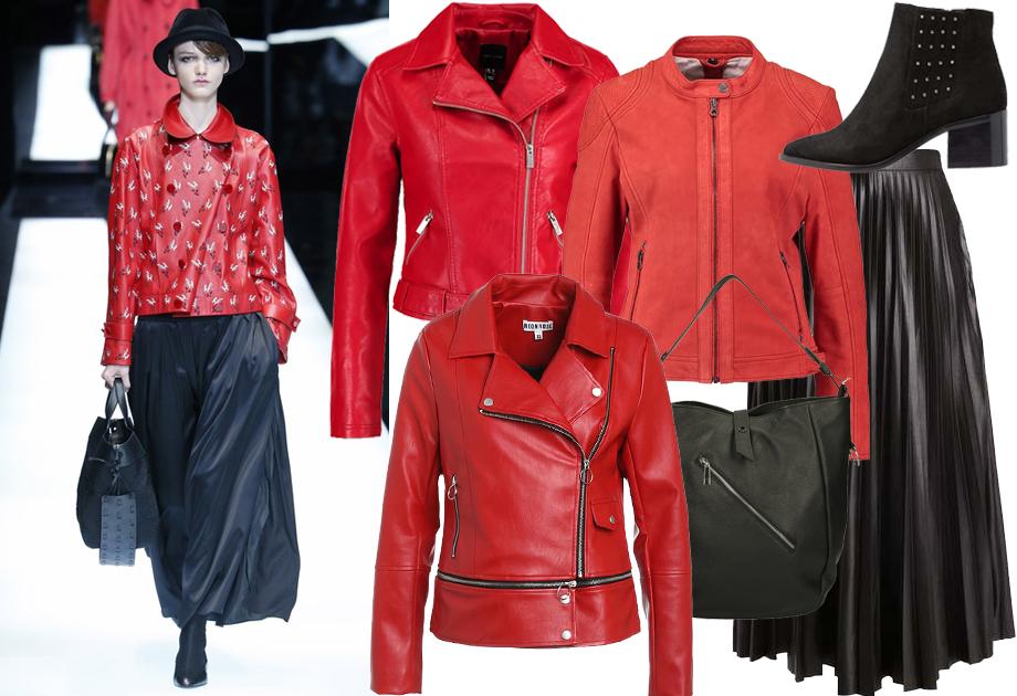 Czerwona kurtka skórzana - stylizacja