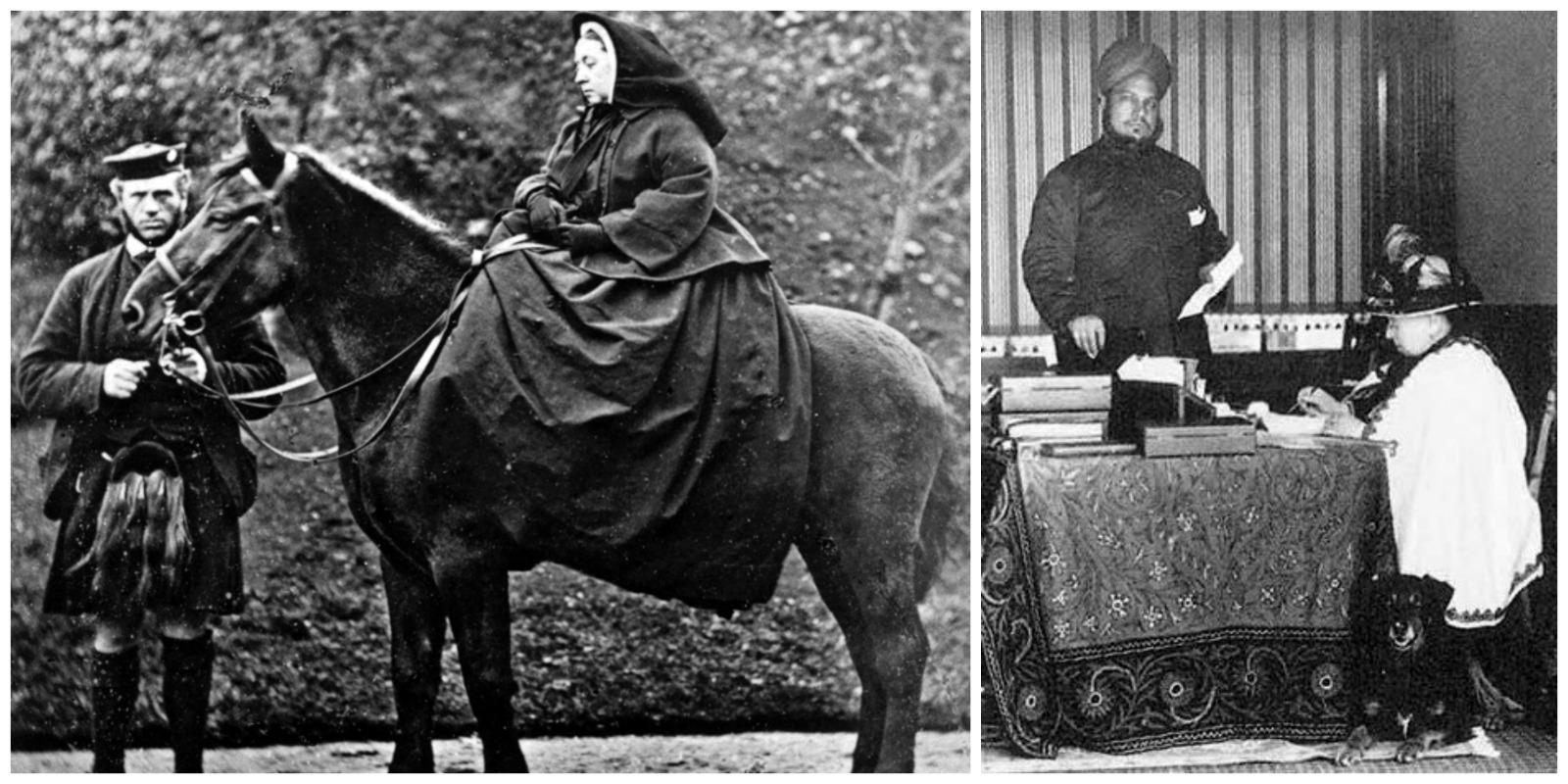 Po lewej królowa i John Brown w Balmoral, 1863 r. Po prawej Victoria w towarzystwie Abdula w 1897 r. (fot. Wikimedia.org / Domena publiczna / PD-US)