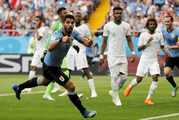 Uruguay's Luis Suarez celebrates scoring his side's first goal during the group A match against Saudi Arabia at the 2018 soccer World Cup in Rostov Arena in Rostov-on-Don, Russia, Wednesday, June 20, 2018. (AP Photo/Andrew Medichini) SLOWA KLUCZOWE: WC2018URY;WC2018SAU