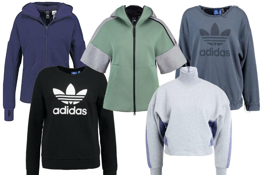 Kolaż / Bluzy sportowe Adidas z wyprzedaży / Materiały partnera