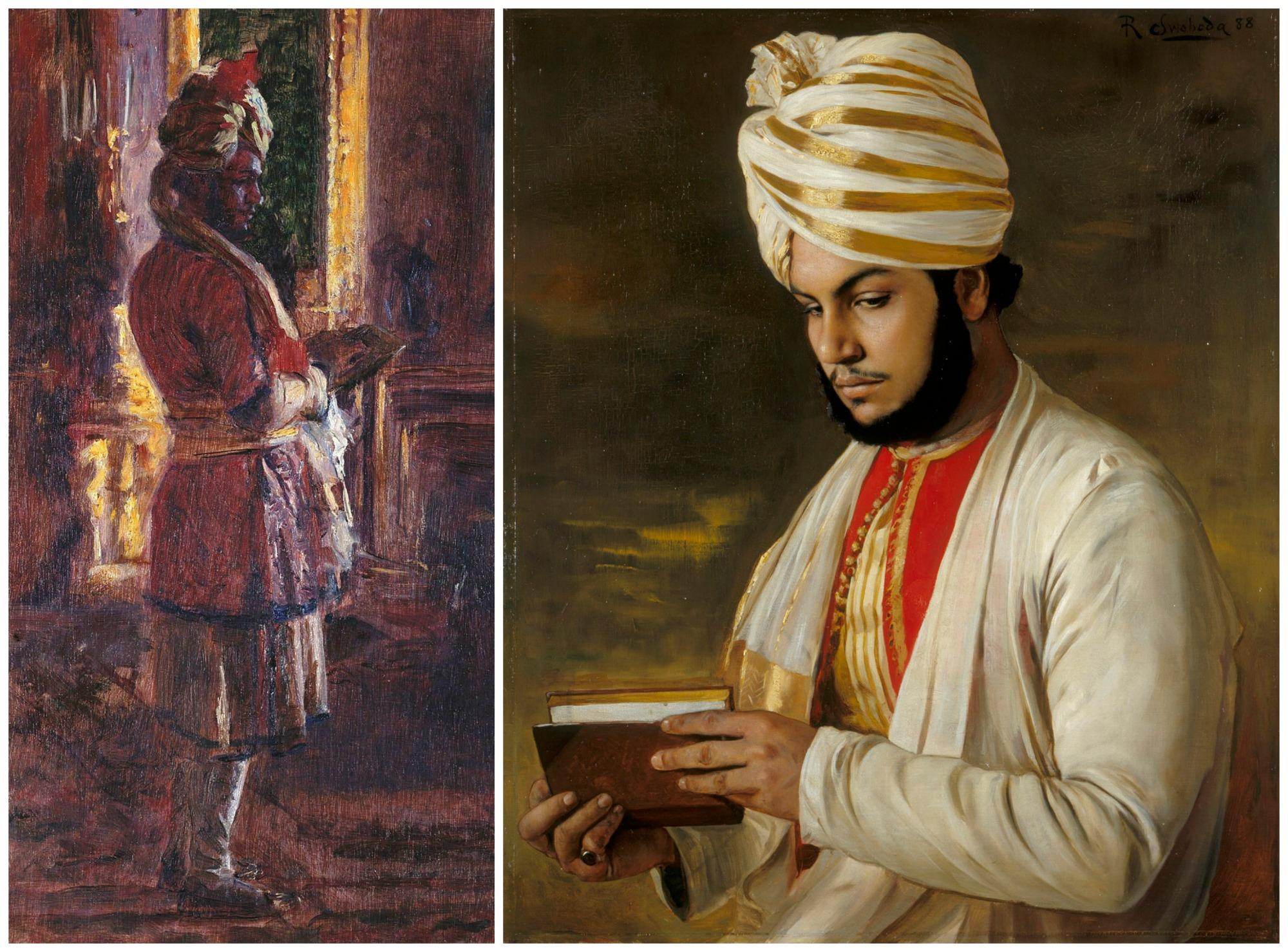 Z lewej Abdul Karim sportretowany na polecenie Victorii przez Lauritsa Tuxena w 1887 r. Z prawej portret namalowany przez Rudolfa Swobodę rok później (fot. Wikimedia.org / Domena publiczna)