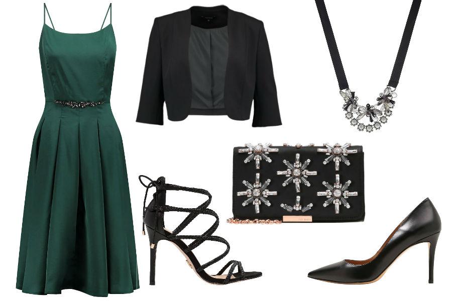 Stylizacja z zieloną sukienką