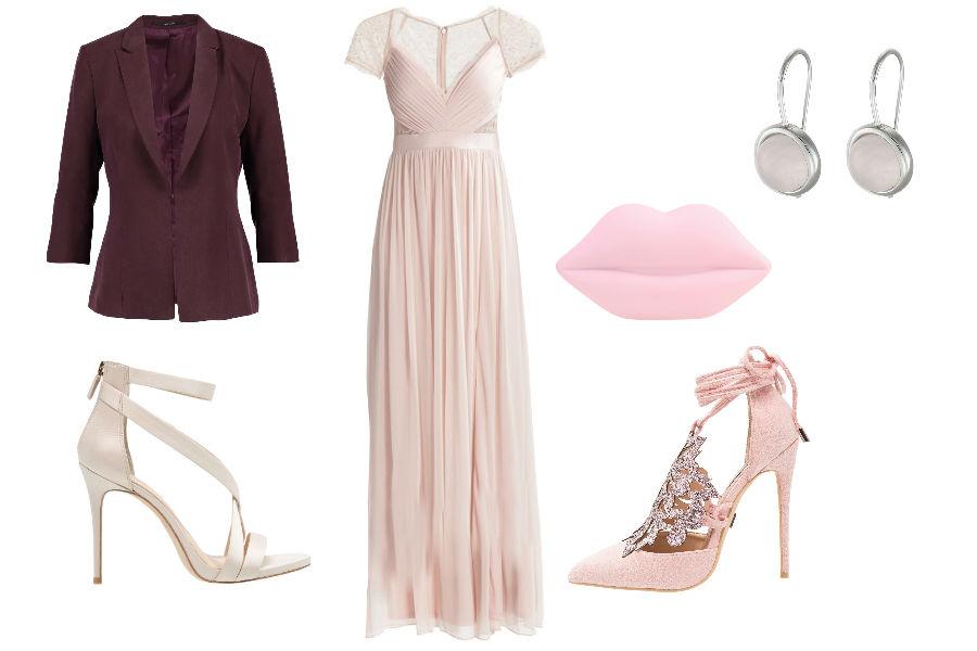Stylizacja z różową sukienką