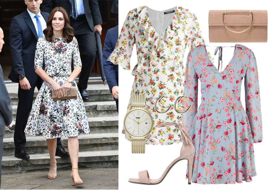 Księżna Kate w sukience w kwiatki