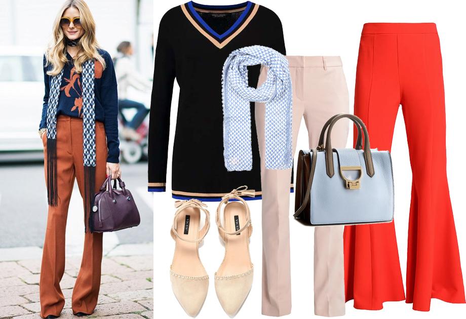 Dzwony - spodnie materiałowe - stylizacja