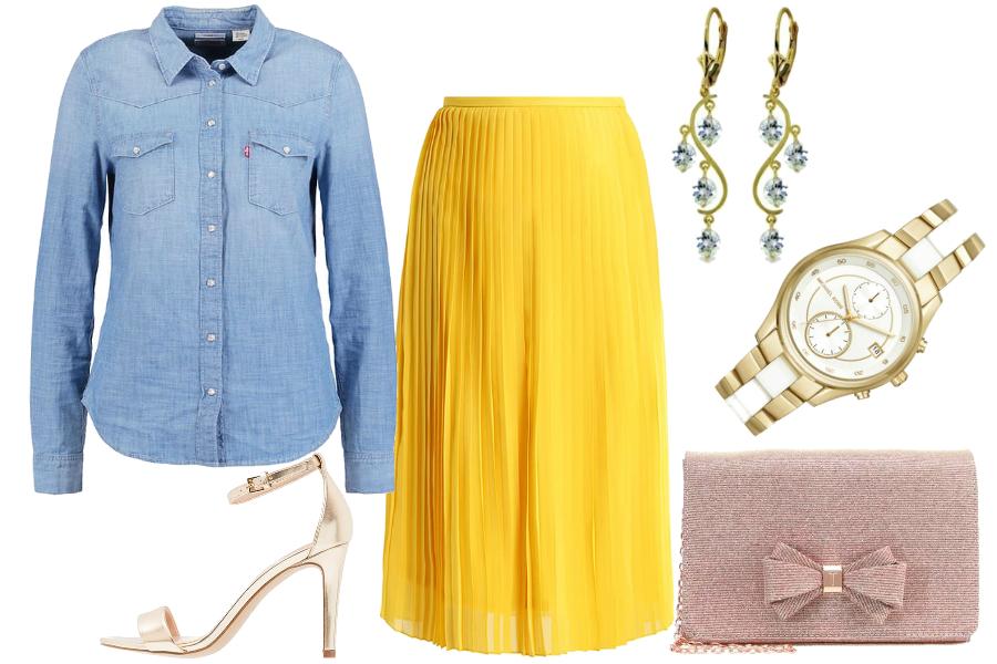 Żółta spódnica i jeansowa koszula / mat. partnera
