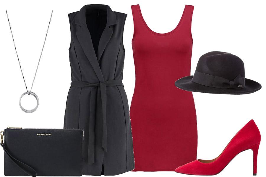 Stylizacja z czerwoną sukienką / Kolaż / Materiały partnera