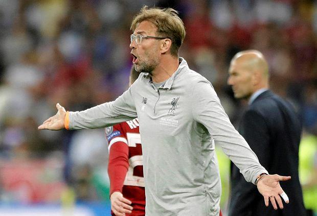Liverpool coach Jurgen Klopp reacts during the Champions League Final soccer match between Real Madrid and Liverpool at the Olimpiyskiy Stadium in Kiev, Ukraine, Saturday, May 26, 2018. (AP Photo/Matthias Schrader) SLOWA KLUCZOWE: XCHAMPIONSLEAGUEX