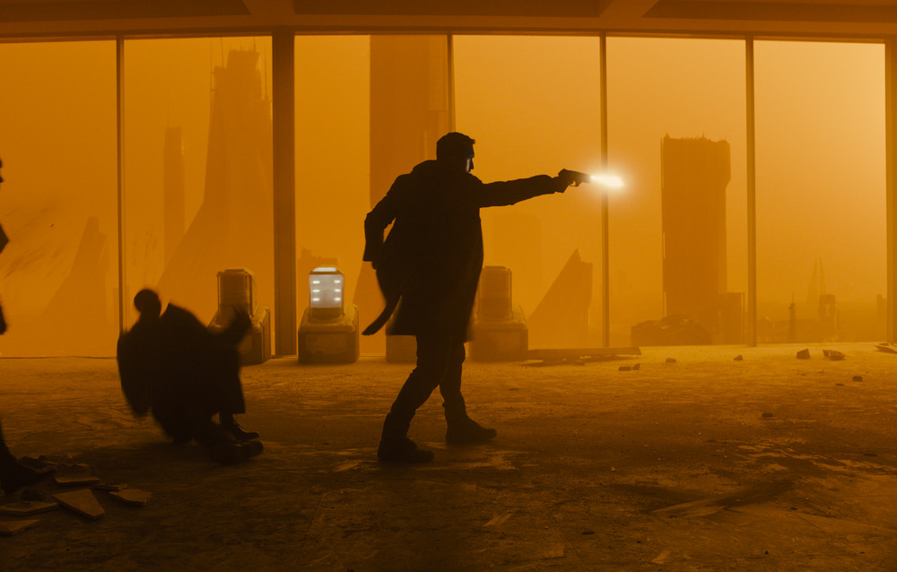 Ryan Gosling in Blade Runner 2049 in association with Columbia Pictures, domestic distribution by Warner Bros. Pictures and international distribution by Sony Pictures Releasing International.