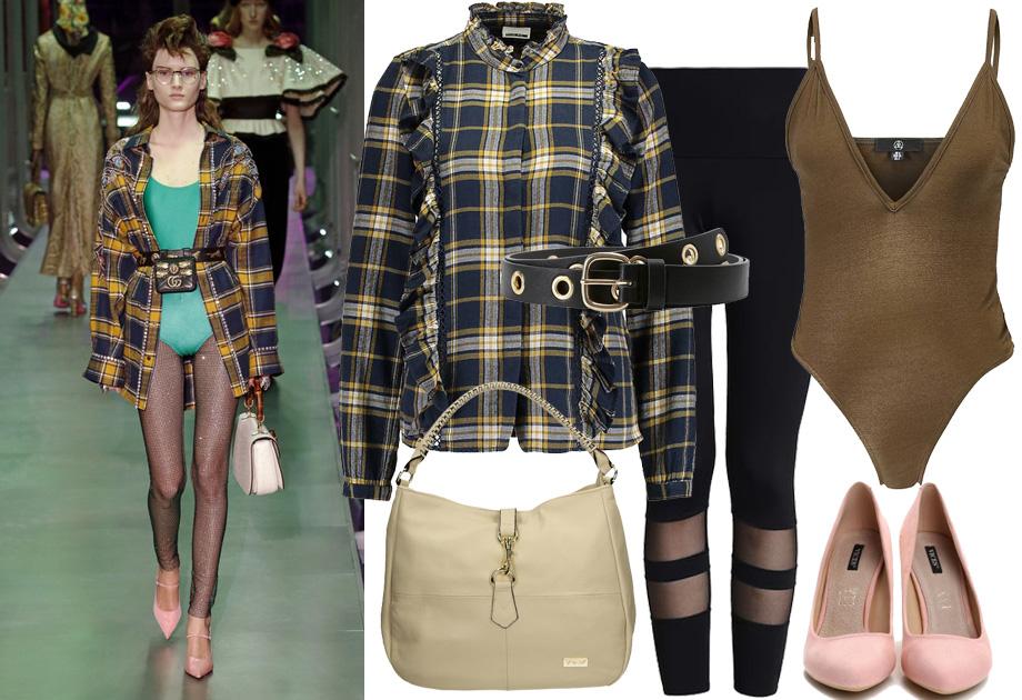 Kraciasta koszula - stylizacja inspirowana Gucci