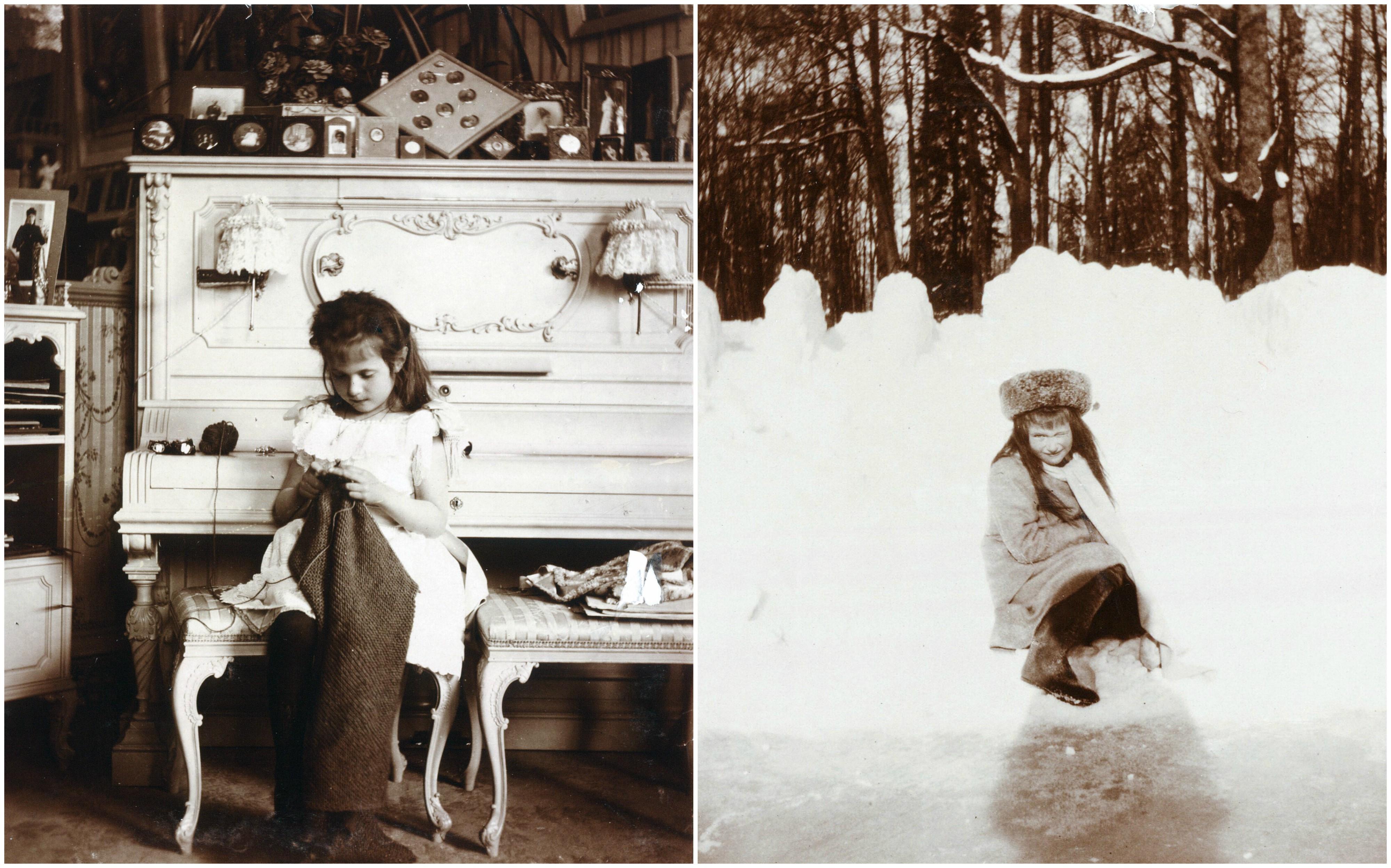 Po Lewek Anastazja Haftujaca W Buduarze Swojej Matki Okolo 1908 R Prawej Dziewczynka