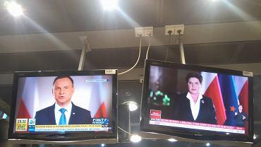 Tak jeszcze nie było. Dwa orędzia w tym samym czasie. W TVP priorytet miała premier, w TVN i Polsacie prezydent