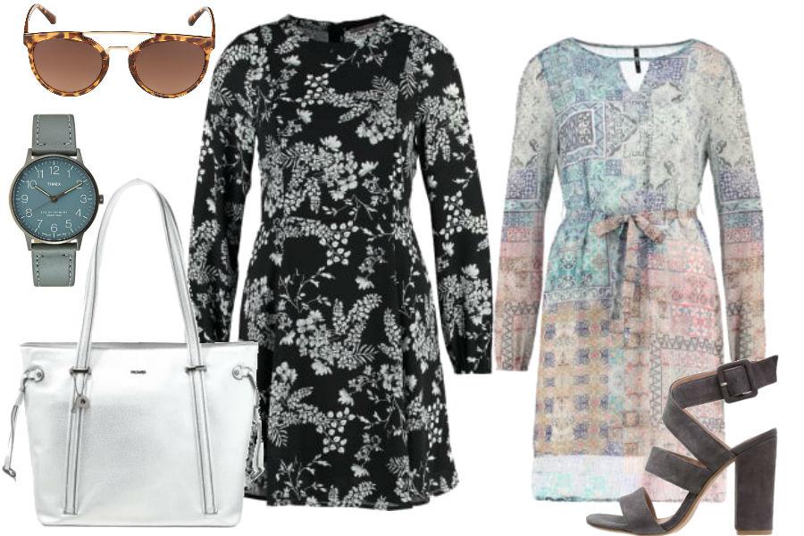 Sukienka z długim rękawem / kolaż / materiały partnera