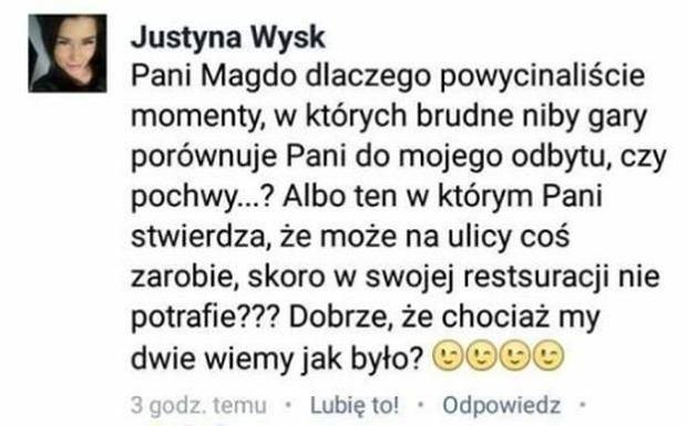 Justyna Wysk komentuje zdjęcie Magdy Gessler