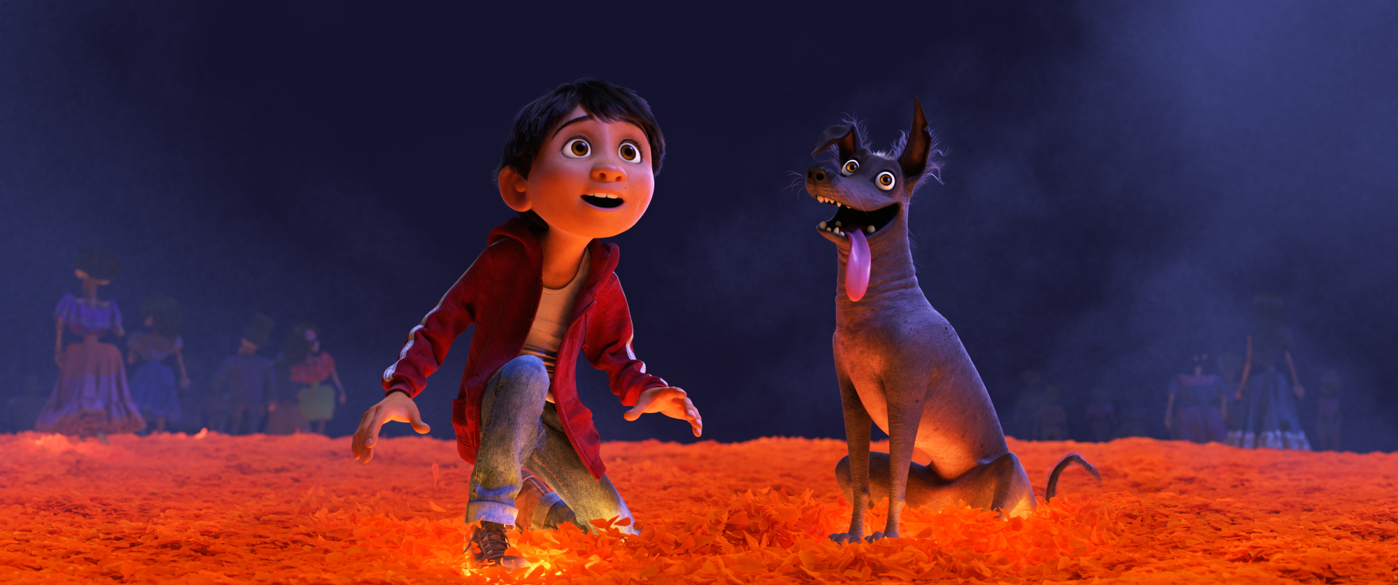 BMARIGOLD BRIDGE  In DisneyPixars Coco,Miguel (voice of newcomer Anthony Gonzalez) desperately wants to prove hismusicaltalent. But when he strums the guitar ofhis idol, the late Ernesto de la Cruz, Miguel sets off a mysterious chain of events and finds himselfand his loyal dog Dantecrossing into the Land of the Dead via a breathtaking bridgemadeof marigoldpetals.Directed by Lee Unkrich, co-directed by Adrian Molina and produced by Darla K. Anderson, Coco opens in theaters Nov. 22, 2017. 2017 DisneyPixar. All Rights Reserved.