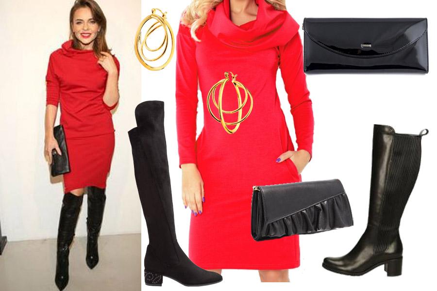 WBF/ Edyta Herbuś/ czerwona sukienka i wysokie kozaki