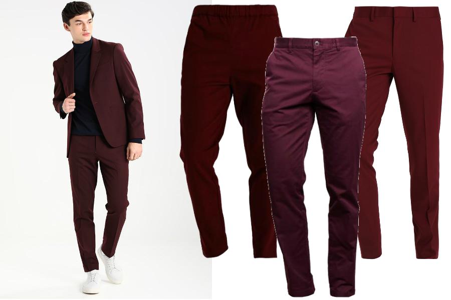 Bordowe spodnie / kolaż redakcja, materiały partnerów