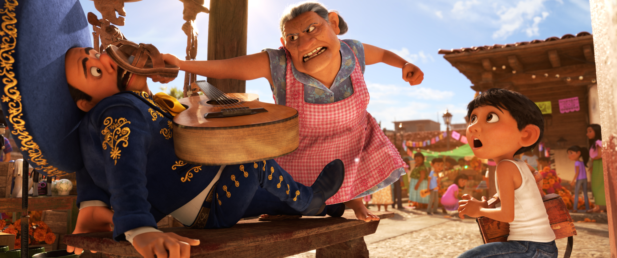 NO MUSIC  In DisneyPixarsCoco, which opens in U.S. theaters on Nov. 22, 2017, aspiring musician Miguel challenges his familys generations-old ban on music, spending time with a local mariachi. But his grandmother Abuelita promptly puts a stop to it. Coco features Lombardo Boyar as the voice of the mariachi, Rene Victor as the voice of Abuelita and Anthony Gonzelez as the voice of Miguel. 2017 DisneyPixar. All Rights Reserved.