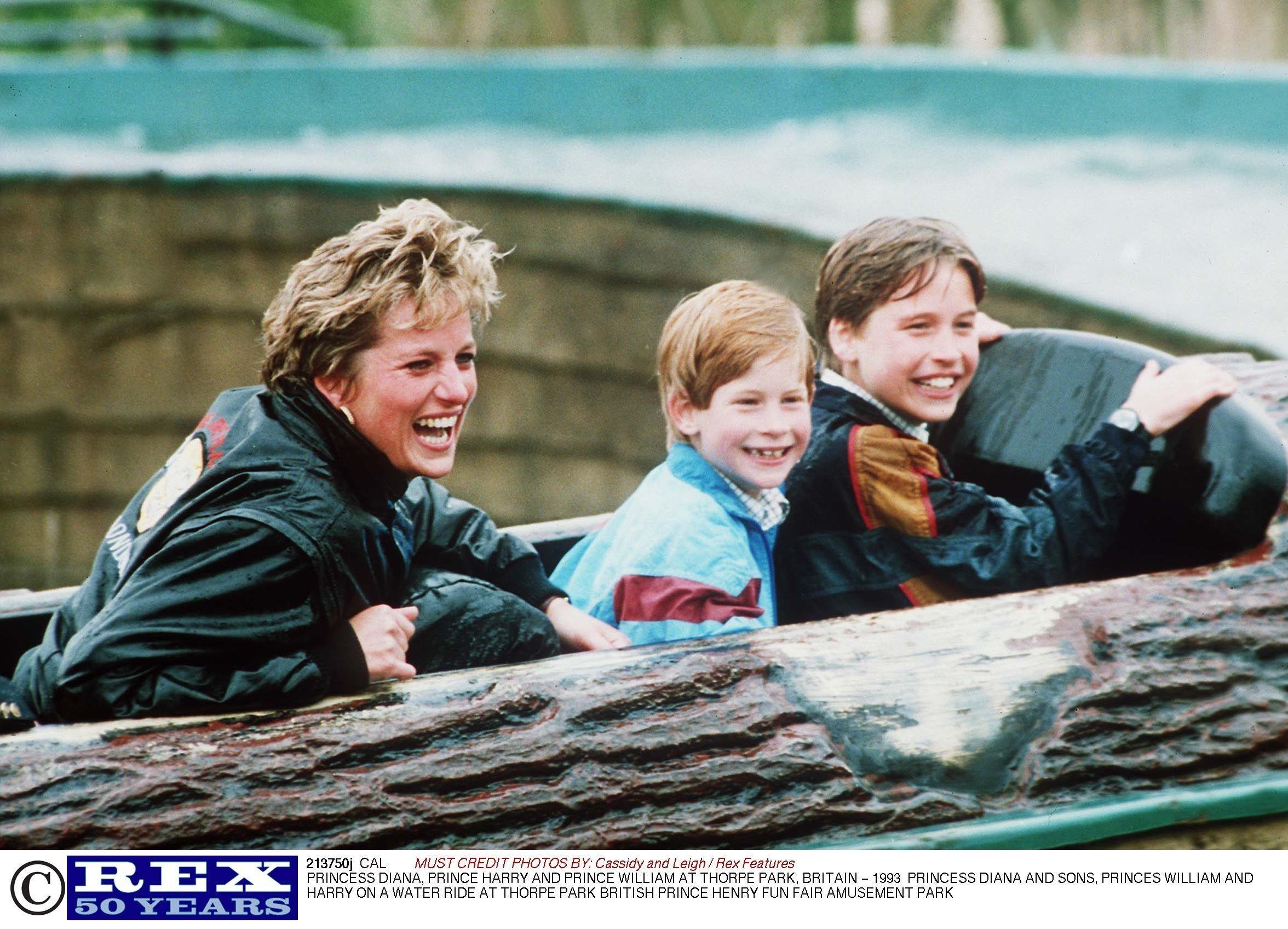 Księżna Diana, książę Harry i książę William w Thorpe Park, 1993 r.  (fot. Eastnews)