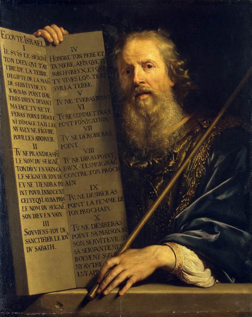 Mojżesz wśród chrześcijan uznawany jest za świętego proroka, to on miał poprowadzić Izraelitów z Egiptu do Ziemii Obiecanej (fot. obraz autorstwa Philippe de Champaigne / Wikimedia.org / Domena publiczna)