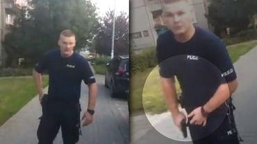 Interwencja w Kole. Policjant celował z broni do mężczyzny, który nagrywał go komórką