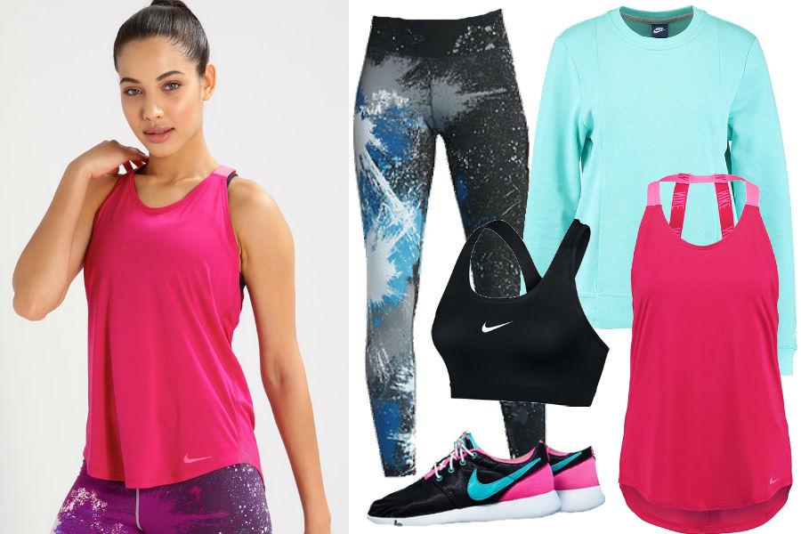 Biustonosz sportowy, różowy top, błękitna bluza