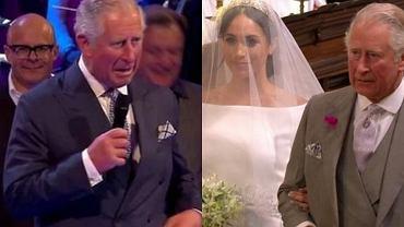Książę Karol pokusił się o żartobliwą przemowę na weselu. Harry'emu raczej nie było do śmiechu