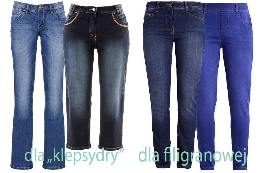 Jeansy dla 'klepsydry' i dla filigranowej