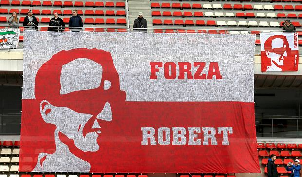 A banner supporting Williams reserve driver Robert Kubica of Poland hangs from the stands during a Formula One pre-season testing session in Montmelo, outside Barcelona, Spain, Thursday, March 8, 2018. (AP Photo/Manu Fernandez)